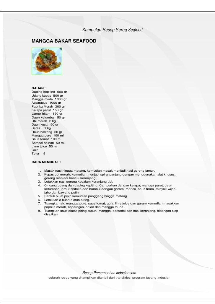 HeHeader                                Kumpulan Resep Serba Seafood  MANGGA BAKAR SEAFOOD     BAHAN : Daging kepiting 500...