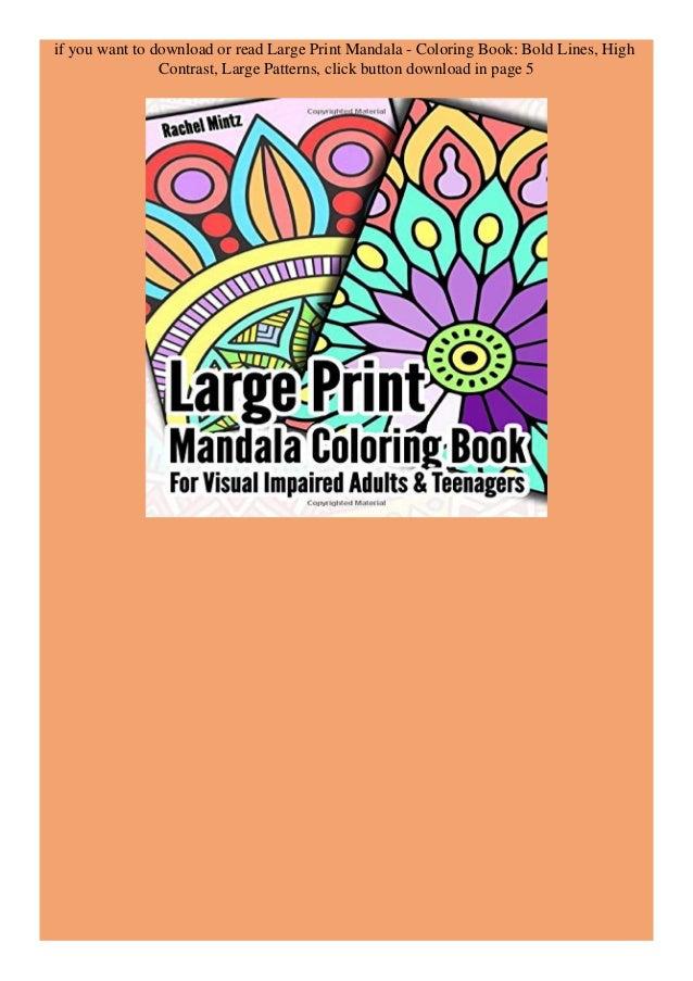 Ebook Large Print Mandala Coloring Book Bold Lines High Contrast