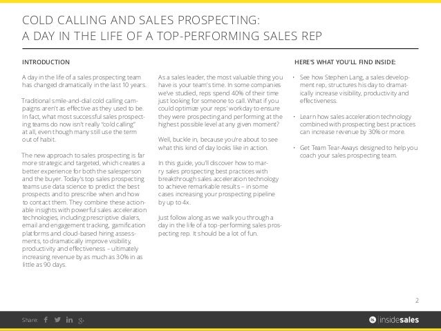 COLD CALLING AND SALES PROSPECTING Slide 2