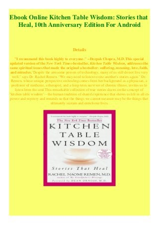Ebook Online Kitchen Table Wisdom Stories That Heal 10th Anniversary
