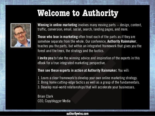 Winning with Authority - 15 Experts on Integrated Online Marketing Slide 2