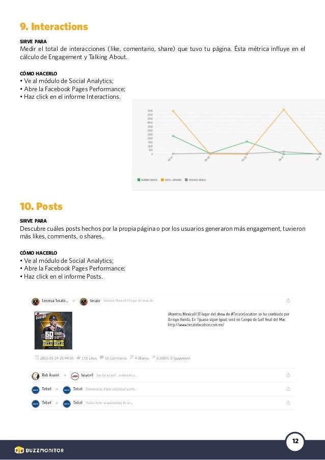 12 9. Interactions sirve para Medir el total de interacciones (like, comentario, share) que tuvo tu página. Ésta métrica i...