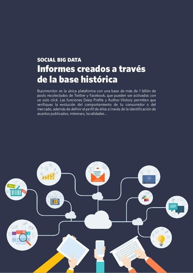 14 social big data Informes creados a través de la base histórica Buzzmonitor es la única plataforma con una base de más d...