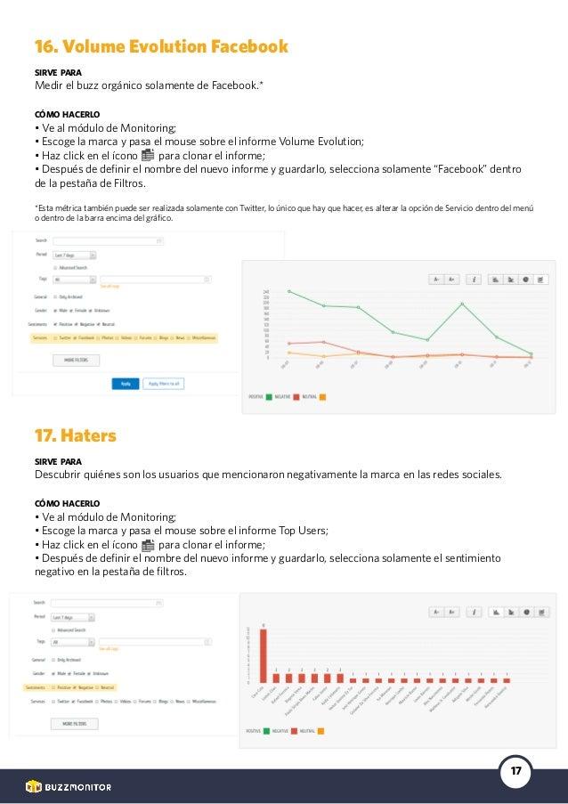 17 16. Volume Evolution Facebook sirve para Medir el buzz orgánico solamente de Facebook.* cómo hacerlo • Ve al módulo de ...