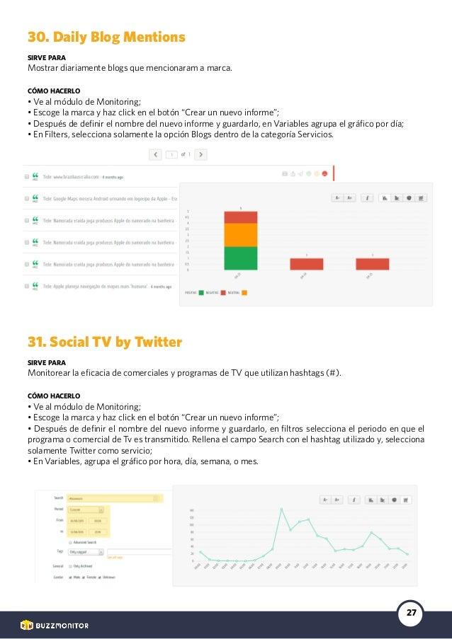 27 30. Daily Blog Mentions sirve para Mostrar diariamente blogs que mencionaram a marca. cómo hacerlo • Ve al módulo de Mo...