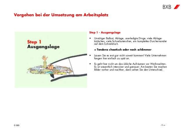 Vorgehen bei der Umsetzung am Arbeitsplatz © BXB - 5 a - Step 1 - Ausgangslage • Unnötiger Ballast, Ablage, unerledigte Di...