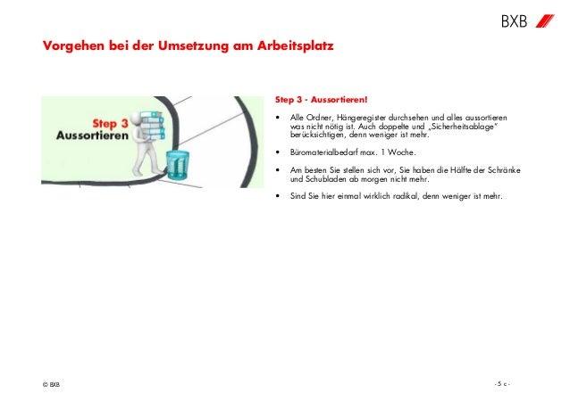 Vorgehen bei der Umsetzung am Arbeitsplatz © BXB - 5 c - Step 3 - Aussortieren! • Alle Ordner, Hängeregister durchsehen un...