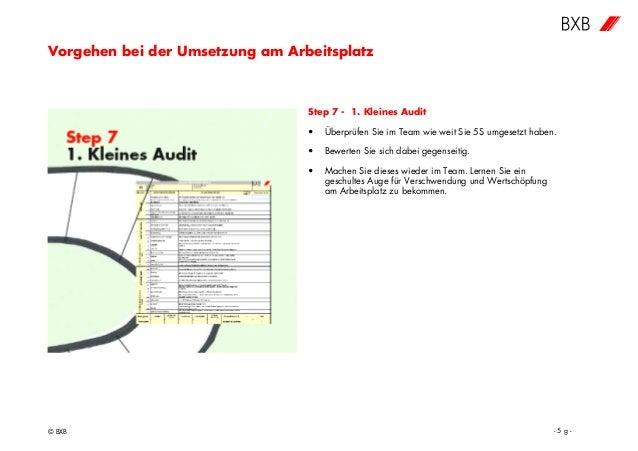 Vorgehen bei der Umsetzung am Arbeitsplatz © BXB - 5 g - Step 7 - 1. Kleines Audit • Überprüfen Sie im Team wie weit Sie 5...