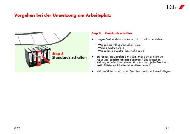 Vorgehen bei der Umsetzung am Arbeitsplatz © BXB - 5 h - Step 8 - Standards schaffen • Fangen Sie bei den Ordnern an, Stan...
