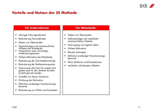 Vorteile und Nutzen der 5S Methode © BXB - 6 - • Geringer Führungsaufwand • Reduzierung Personalkosten • Abbau von Überstu...