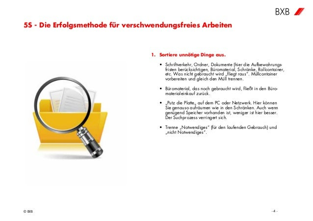 5S - Die Erfolgsmethode für verschwendungsfreies Arbeiten © BXB - 4 - 1. Sortiere unnötige Dinge aus. • Schriftverkehr, Or...