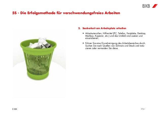 5S - Die Erfolgsmethode für verschwendungsfreies Arbeiten © BXB - 4 a - 2. Sauberkeit am Arbeitsplatz erhalten • Arbeitsut...