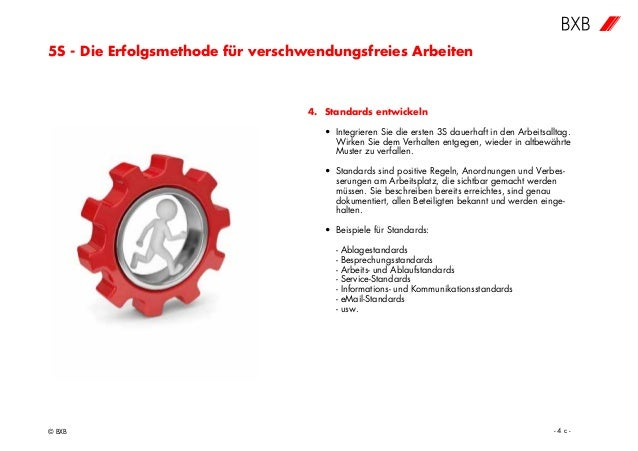5S - Die Erfolgsmethode für verschwendungsfreies Arbeiten © BXB - 4 c - 4. Standards entwickeln • Integrieren Sie die erst...