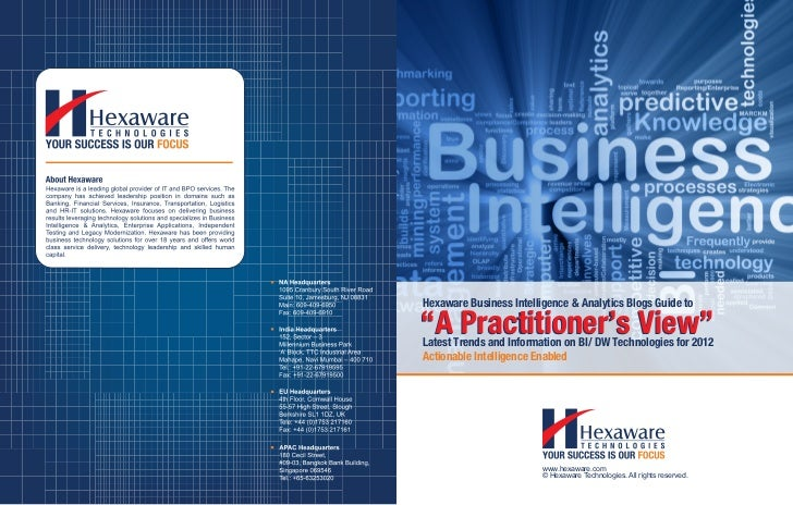 """Hexaware Business Intelligence & Analytics Blogs Guide to""""A Practitioner's View""""Latest Trends and Information on BI/ DW Te..."""