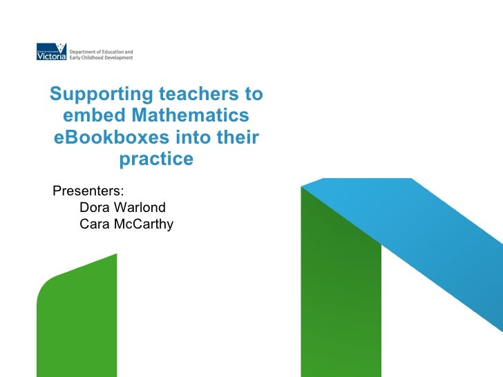 Supporting teachers to embed Mathematics eBookboxes into their practice Presenters:   Dora Warlond Cara McCarthy