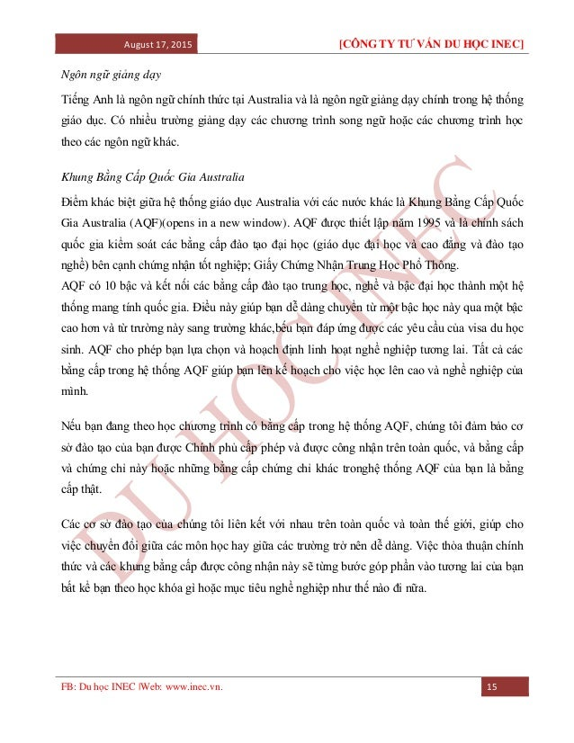 August 17, 2015 [CÔNG TY TƯ VẤN DU HỌC INEC] FB: Du học INEC |Web: www.inec.vn. 15 Ngôn ngữ giảng dạy Tiếng Anh là ngôn ng...