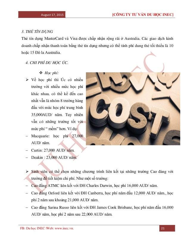 August 17, 2015 [CÔNG TY TƯ VẤN DU HỌC INEC] FB: Du học INEC |Web: www.inec.vn. 21 3. THẺ TÍN DỤNG Thẻ tín dụng MasterCard...