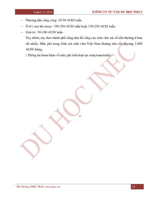 August 17, 2015 [CÔNG TY TƯ VẤN DU HỌC INEC] FB: Du học INEC |Web: www.inec.vn. 23  Phương tiện công công: 10-50 AUD/ tuầ...