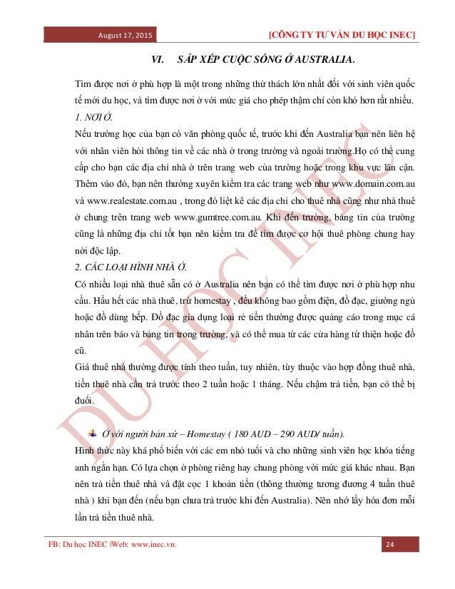 August 17, 2015 [CÔNG TY TƯ VẤN DU HỌC INEC] FB: Du học INEC |Web: www.inec.vn. 24 VI. SẮP XẾP CUỘC SỐNG Ở AUSTRALIA. Tìm ...