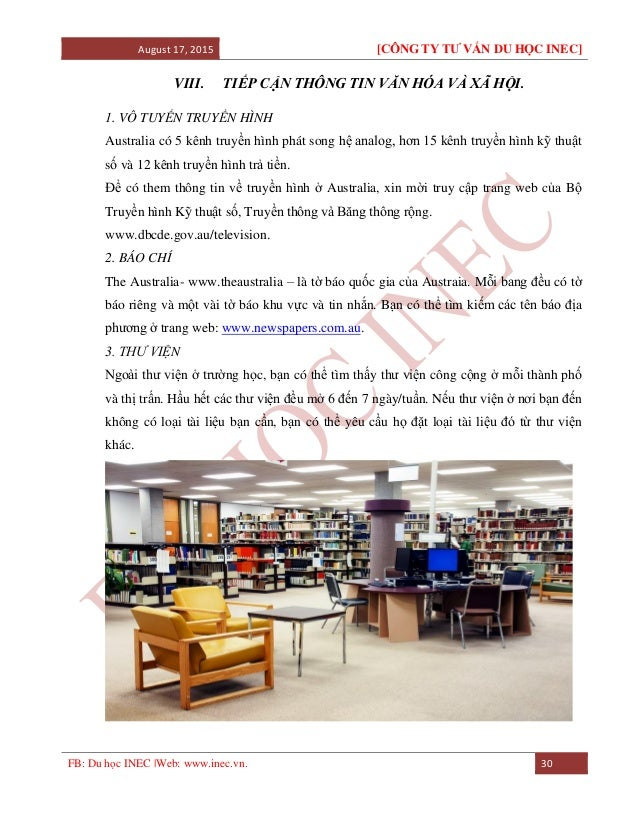 August 17, 2015 [CÔNG TY TƯ VẤN DU HỌC INEC] FB: Du học INEC |Web: www.inec.vn. 30 VIII. TIẾP CẬN THÔNG TIN VĂN HÓA VÀ XÃ ...