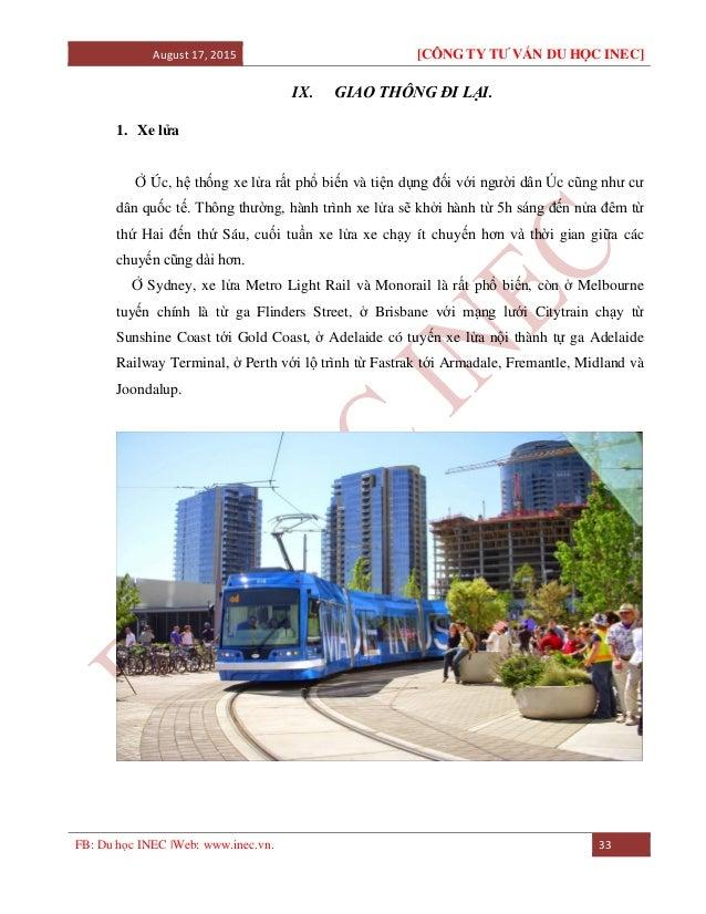 August 17, 2015 [CÔNG TY TƯ VẤN DU HỌC INEC] FB: Du học INEC |Web: www.inec.vn. 33 IX. GIAO THÔNG ĐI LẠI. 1. Xe lửa Ở Úc, ...