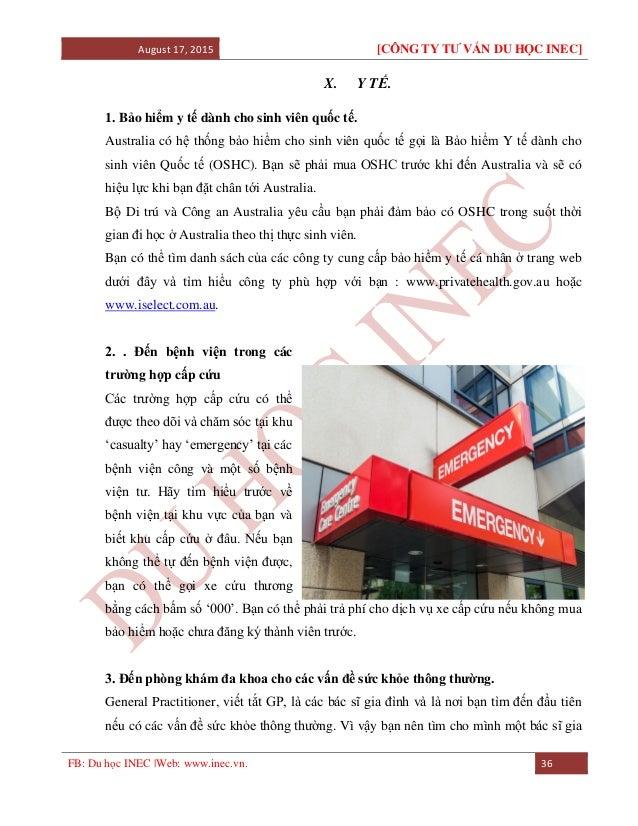 August 17, 2015 [CÔNG TY TƯ VẤN DU HỌC INEC] FB: Du học INEC |Web: www.inec.vn. 36 X. Y TẾ. 1. Bảo hiểm y tế dành cho sinh...