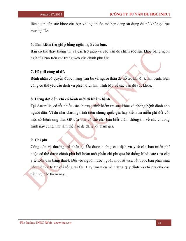 August 17, 2015 [CÔNG TY TƯ VẤN DU HỌC INEC] FB: Du học INEC |Web: www.inec.vn. 38 liên quan đến sức khỏe của bạn và loại ...