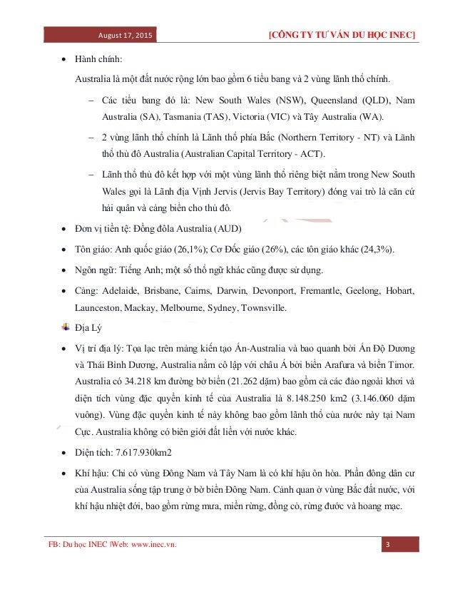 August 17, 2015 [CÔNG TY TƯ VẤN DU HỌC INEC] FB: Du học INEC |Web: www.inec.vn. 3  Hành chính: Australia là một đất nước ...