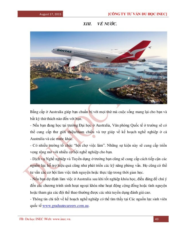 August 17, 2015 [CÔNG TY TƯ VẤN DU HỌC INEC] FB: Du học INEC |Web: www.inec.vn. 43 XIII. VỀ NƯỚC. Bằng cấp ở Australia giú...