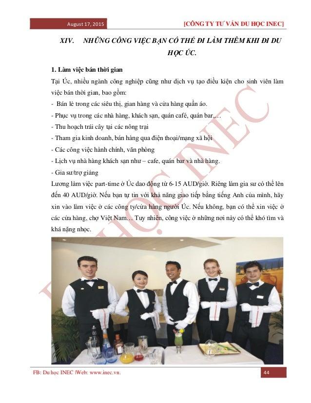 August 17, 2015 [CÔNG TY TƯ VẤN DU HỌC INEC] FB: Du học INEC |Web: www.inec.vn. 44 XIV. NHỮNG CÔNG VIỆC BẠN CÓ THỂ ĐI LÀM ...