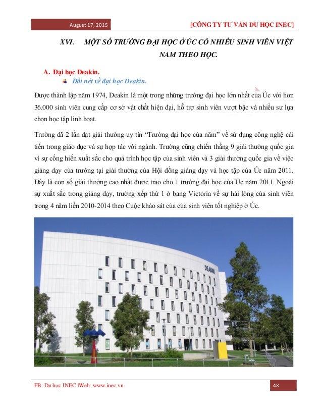 August 17, 2015 [CÔNG TY TƯ VẤN DU HỌC INEC] FB: Du học INEC |Web: www.inec.vn. 48 XVI. MỘT SỐ TRƯỜNG ĐẠI HỌC Ở ÚC CÓ NHIẾ...