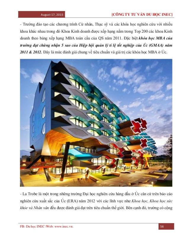 August 17, 2015 [CÔNG TY TƯ VẤN DU HỌC INEC] FB: Du học INEC |Web: www.inec.vn. 56 - Trường đào tạo các chương trình Cử nh...