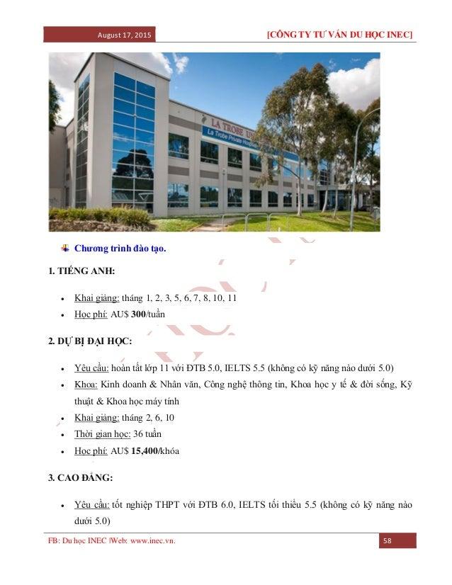 August 17, 2015 [CÔNG TY TƯ VẤN DU HỌC INEC] FB: Du học INEC |Web: www.inec.vn. 58 Chương trình đào tạo. 1. TIẾNG ANH:  K...