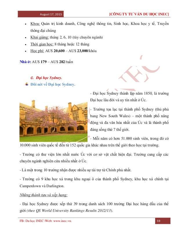 August 17, 2015 [CÔNG TY TƯ VẤN DU HỌC INEC] FB: Du học INEC |Web: www.inec.vn. 59  Khoa: Quản trị kinh doanh, Công nghệ ...