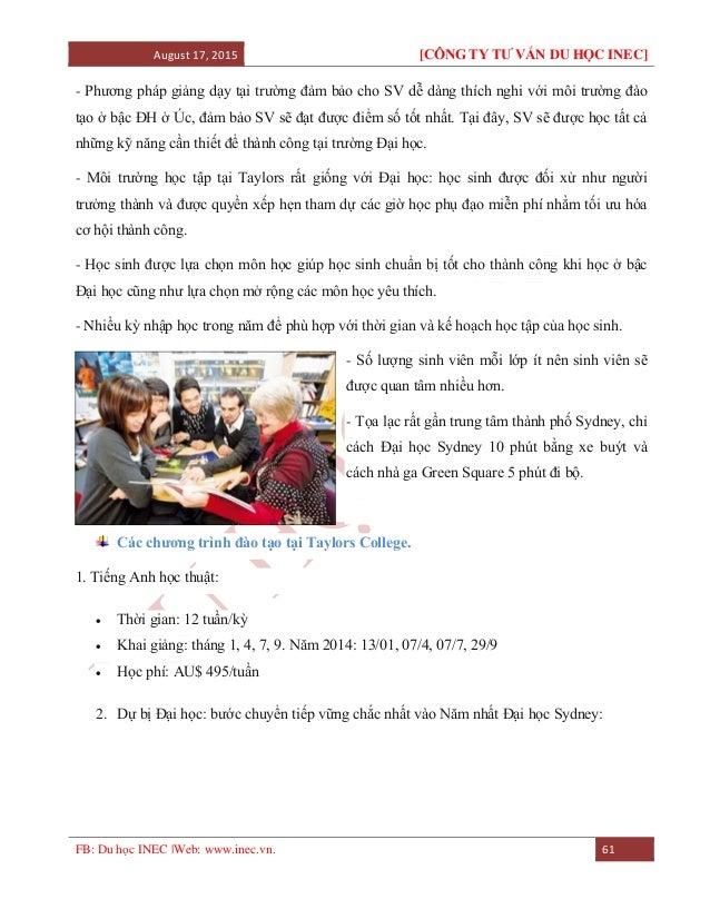 August 17, 2015 [CÔNG TY TƯ VẤN DU HỌC INEC] FB: Du học INEC |Web: www.inec.vn. 61 - Phương pháp giảng dạy tại trường đảm ...