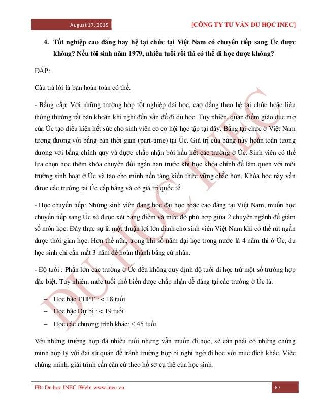 August 17, 2015 [CÔNG TY TƯ VẤN DU HỌC INEC] FB: Du học INEC |Web: www.inec.vn. 67 4. Tốt nghiệp cao đẳng hay hệ tại chức ...