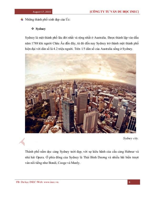 August 17, 2015 [CÔNG TY TƯ VẤN DU HỌC INEC] FB: Du học INEC |Web: www.inec.vn. 6 Những thành phố xinh đẹp của Úc:  Sydne...