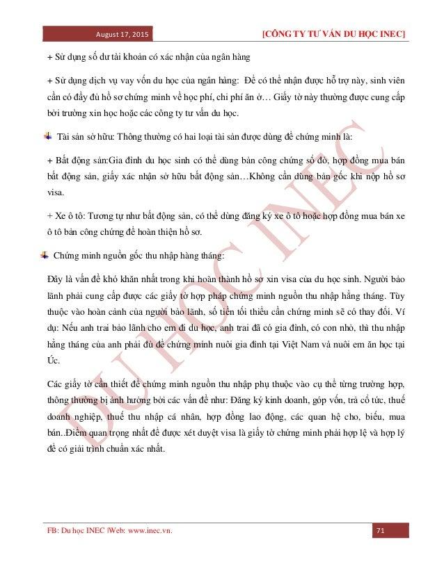 August 17, 2015 [CÔNG TY TƯ VẤN DU HỌC INEC] FB: Du học INEC |Web: www.inec.vn. 71 + Sử dụng số dư tài khoản có xác nhận c...