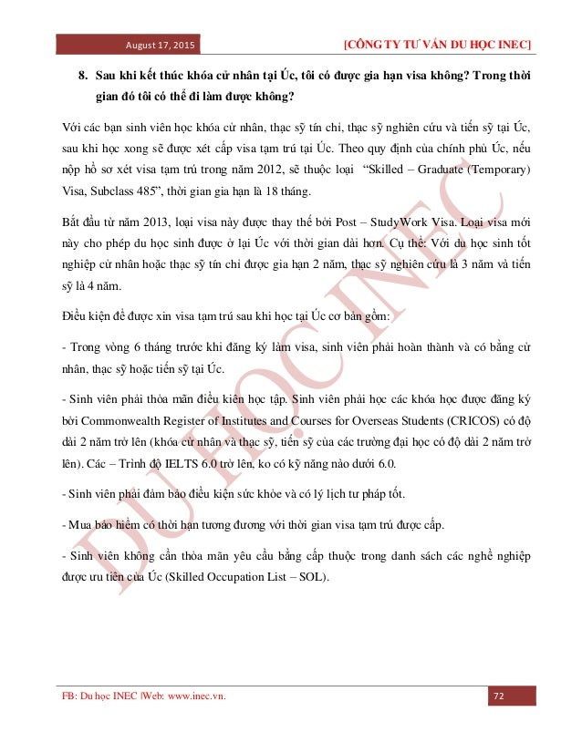 August 17, 2015 [CÔNG TY TƯ VẤN DU HỌC INEC] FB: Du học INEC |Web: www.inec.vn. 72 8. Sau khi kết thúc khóa cử nhân tại Úc...