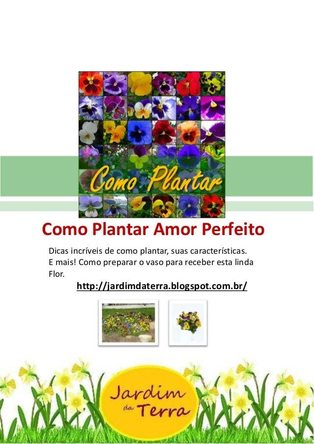Como Plantar AMOR PERFEITO http://jardimdaterra.blogspot.com.br/ Como Plantar Amor Perfeito Dicas incríveis de como planta...