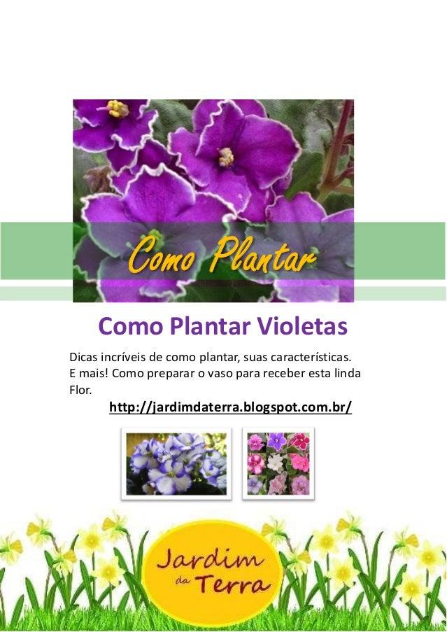 Como Plantar Violetas http://jardimdaterra.blogspot.com.br/ Como Plantar Violetas Dicas incríveis de como plantar, suas ca...