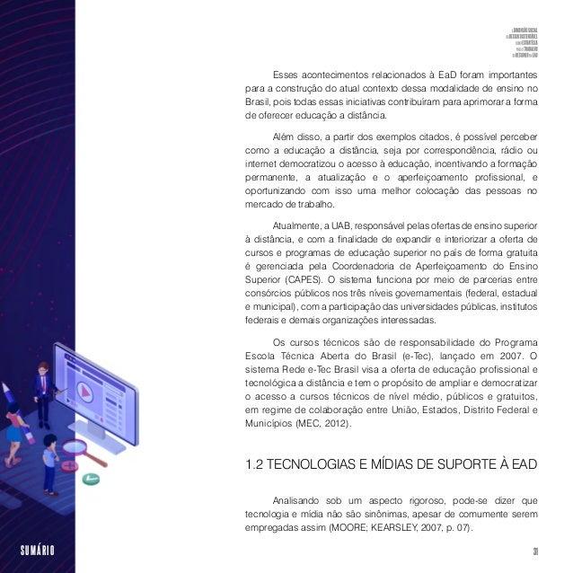 33SUMÁRIO Segundo Tori (2010), as mídias para a educação podem ser classificadas quanto à simbologia como estática (texto,...