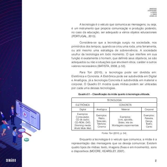 34SUMÁRIO Visualizar melhor o conteúdo de sua disciplina, saber transpô- la para um ambiente online, a utilização educativ...