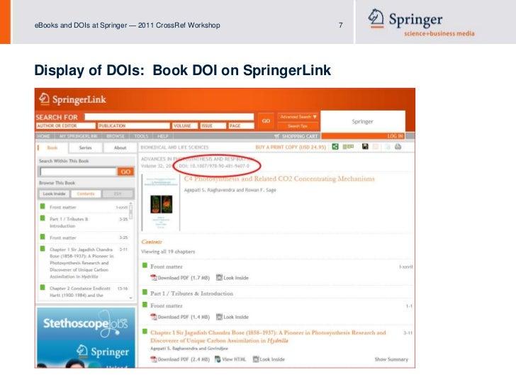 eBooks and DOIs at Springer (2011 CrossRef Workshops)
