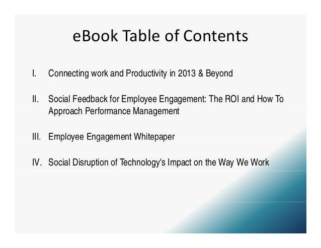 eBookTableofContentsI.    Connecting work and Productivity in 2013 & Beyond               g                     y      ...