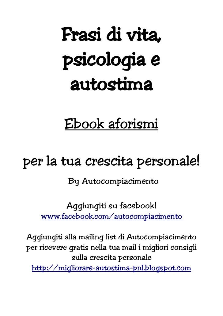 Eccezionale Ebook gratis) Frasi psicologia vita autostima AG22