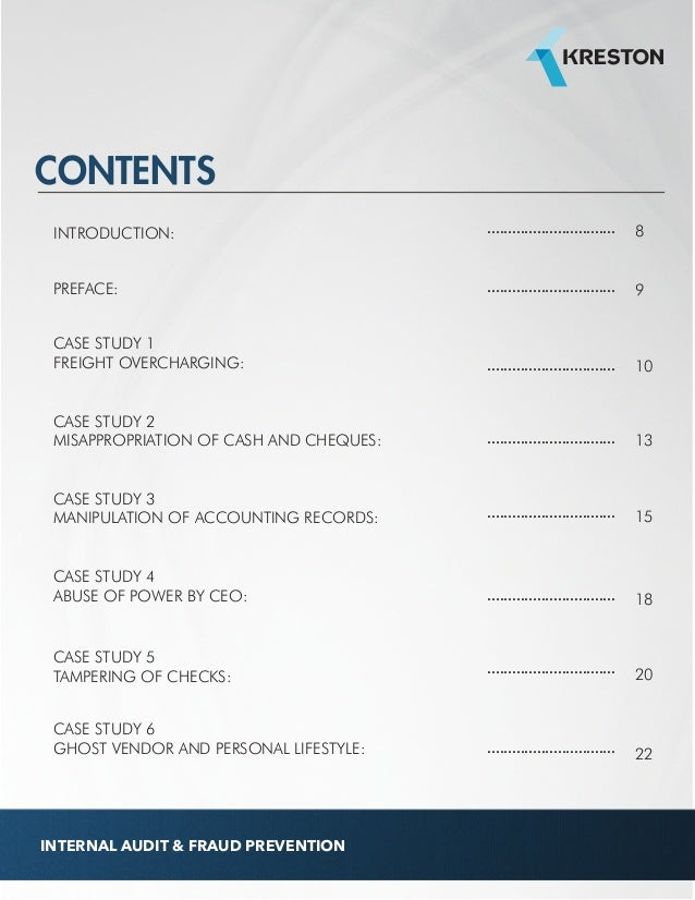 case study audit Forensic accounting cases are available to everyone as pdfs the cases and solutions are password protected for faculty use only topics include: payroll, claims management, sales commission fraud, procurement fraud, asset misappropriation, tax fraud, sales fraud and fcpa investigations.