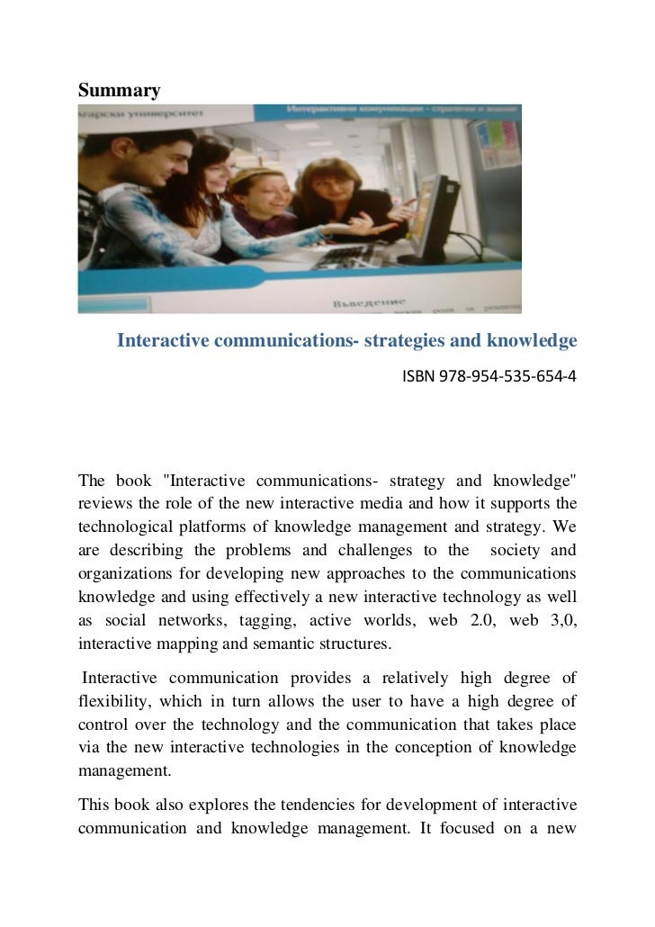 Summary     Interactive communications- strategies and knowledge                                            ISBN 978-954-5...