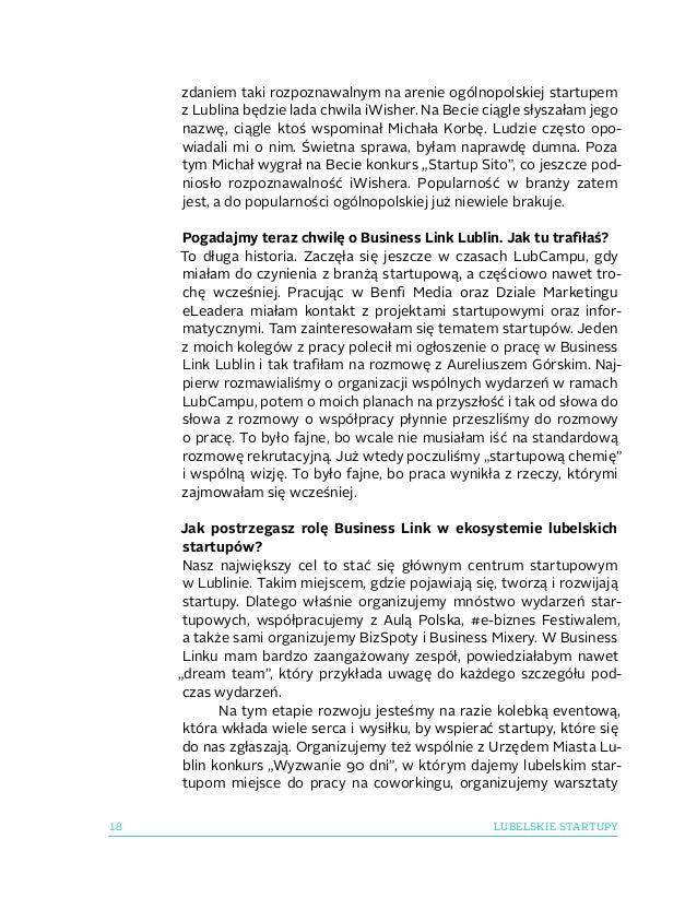 18 LUBELSKIE STARTUPY zdaniem taki rozpoznawalnym na arenie ogólnopolskiej startupem zLublina będzie lada chwila iWisher....