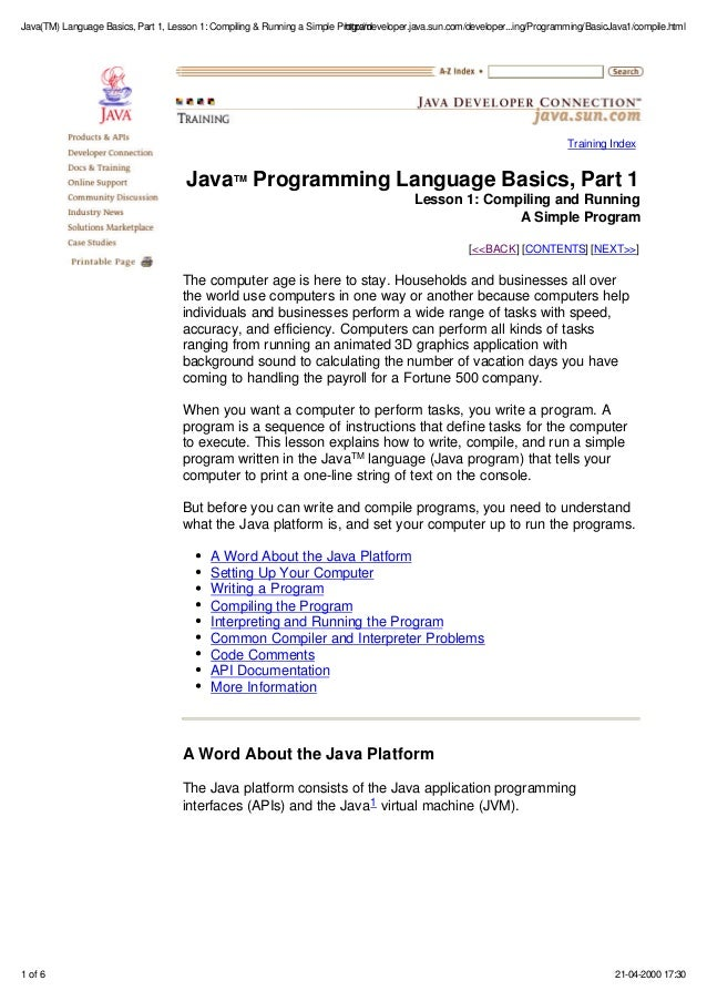 Ebook Pdf Java Programming Language Basics